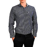 Черная в белый горошек мужская рубашка классическая B.Z.N.