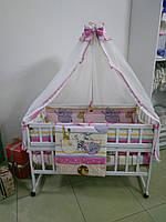 """Полный набор постельного в кроватку 9 в 1 """"Сафари"""", розовый"""