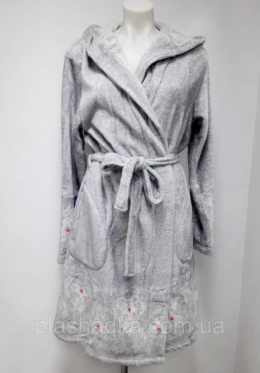 Халат женский теплый  с капюшоном Key (цвет серый), Женский зимний теплый халат