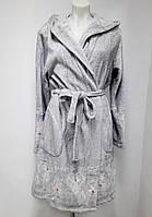 Халат женский теплый  с капюшоном Key (цвет серый), Женский зимний теплый халат, фото 1