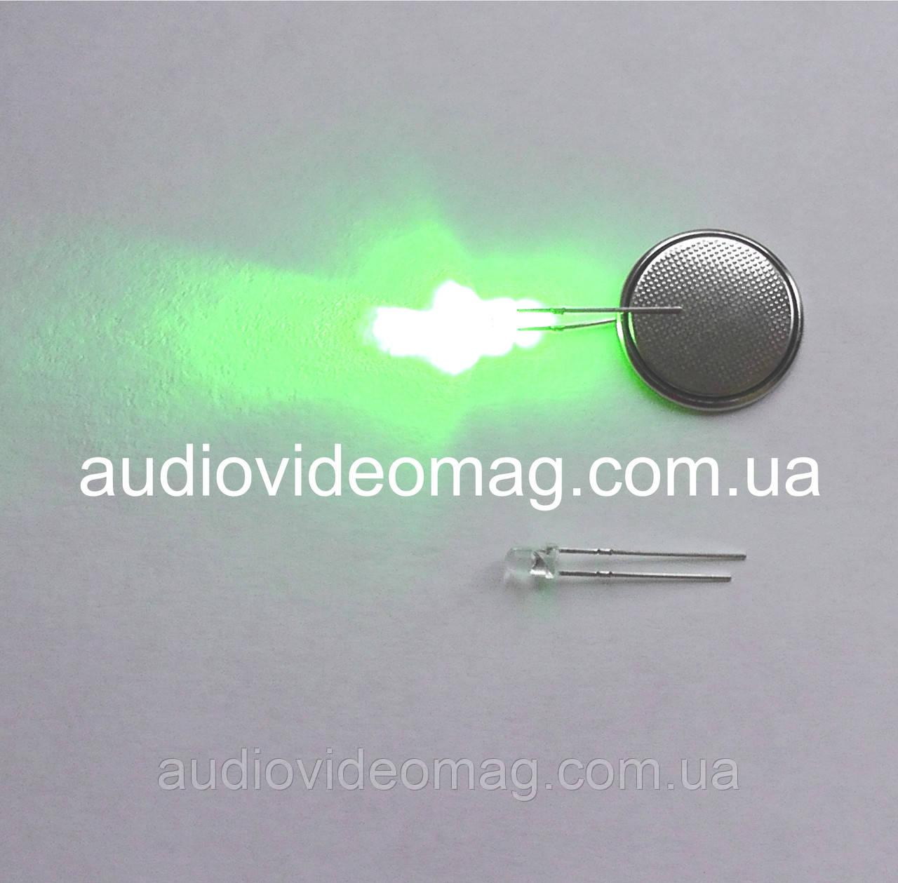 Светодиод 3V 3 мм, прозрачный, цвет зеленый