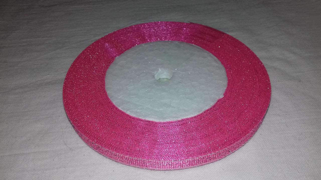 Парчовая лента 6 мм розовая