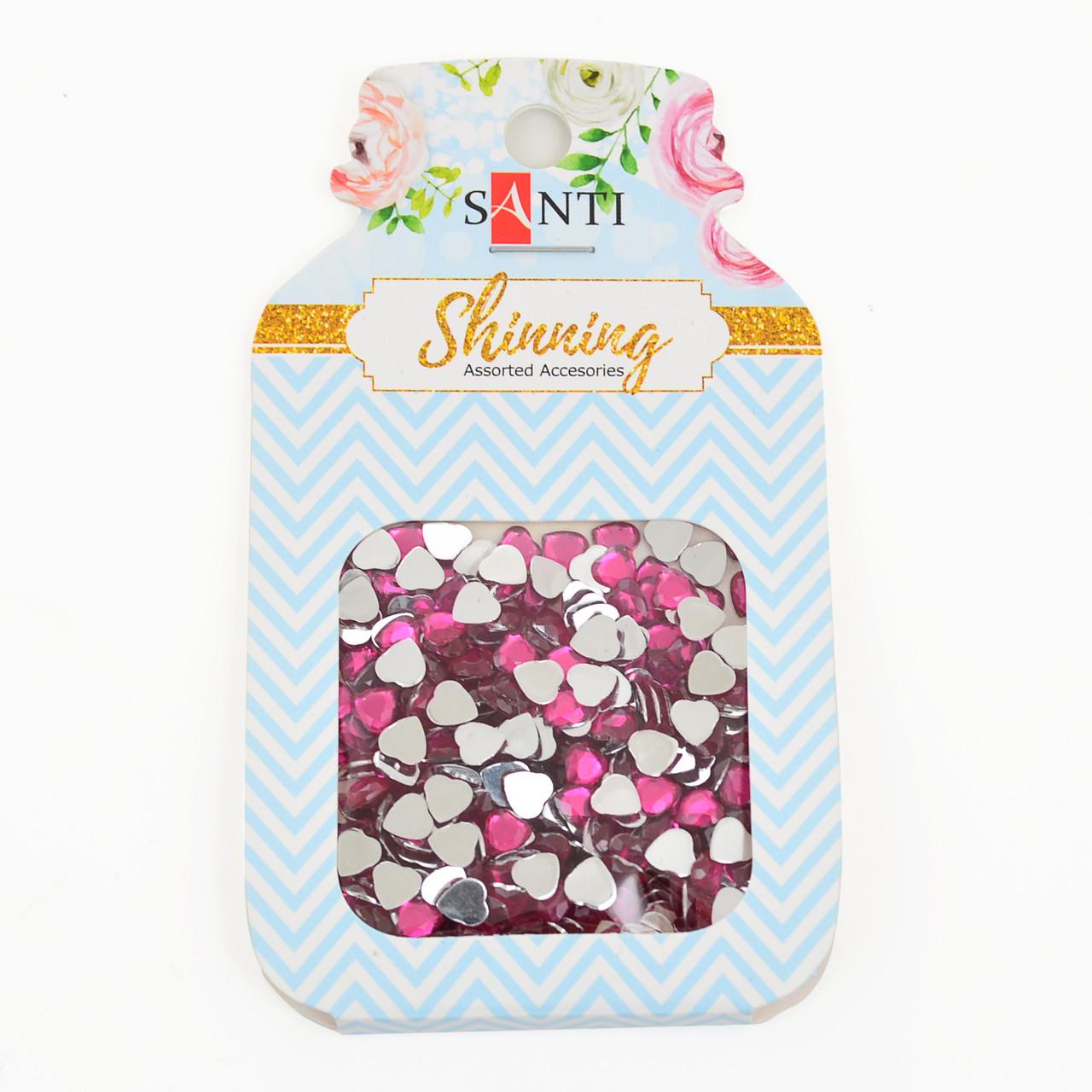 """Набор страз-сердечек """"Santi"""" 8 грамм, цвет ярко-розовый 741519"""