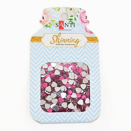 """Набор страз-сердечек """"Santi"""" 8 грамм, цвет ярко-розовый 741519, фото 2"""