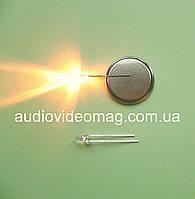 Светодиод 3V 3 мм, прозрачный, цвет желто-оранжевый