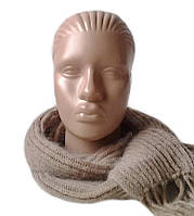 Шарф вязаный женский из ангоры с шерстью песочного цвета