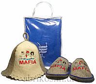 Набор для бани и сауны мужской Мафия (парео, тапочки, шапочка)