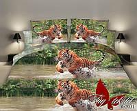 Постельное белье двуспальный евро TAG ренфорс Тигр в воде