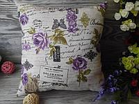 Подушка диванная сиреневые розы,  35 см * 35 см