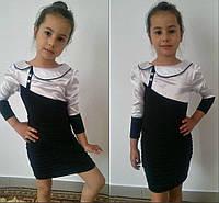 Детское трикотажное платье с воротничком, фото 1