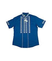 Блакитна вишита лляна сорочка в біло - сірих тонах