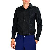 Черная с узором мужская рубашка классическая LORENTI