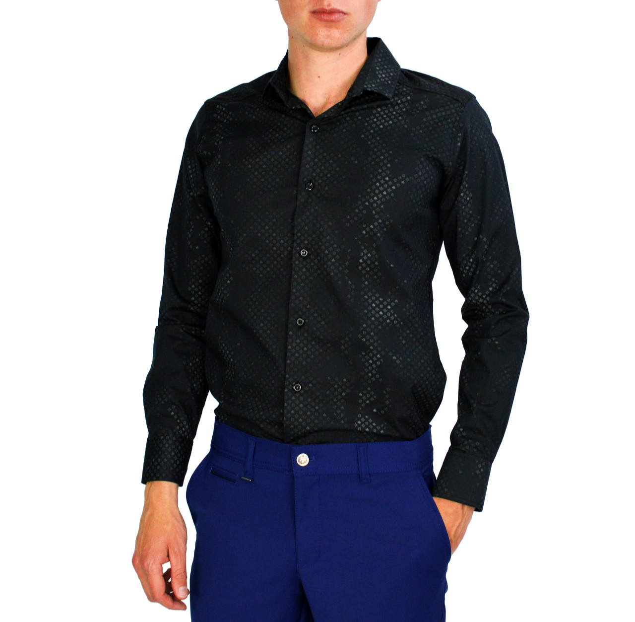 6142ed27c95 Черная с узором мужская рубашка классическая LORENTI -