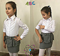 Детская блузка-рубашка с длинным рукавом