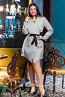 Асимметричное пальто-накидка с кожаным поясом Gepur 14093