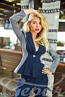 Двухцветный классический пиджак из тиара-шерсти Gepur 13125
