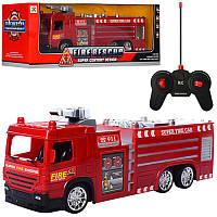 Пожарная машина на радиоуправлении 33 см, свет, на батарейке, в коробке 44-14,5-15 см, 5330-1-2