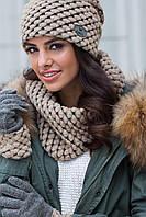 Olivia женская зимняя шапка и снуд Kamea,шерстяная, темный беж  цвет, фото 1