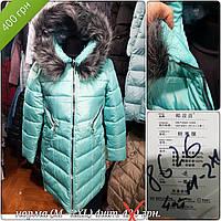 Куртка женская 8626 бирюза распродажа  (M-2 XL , 4 ед.) длинная с мехом на капюшоне