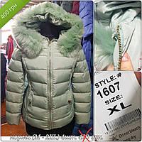 Куртка женская 1607 зелёная распродажа (M-2 XL , 4 ед.) длинная с мехом на капюшоне