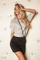 Стильное платье бежевое с черным Gepur 10080