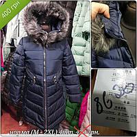 Куртка женская 8626 синяя распродажа  (M-2 XL , 4 ед.) длинная с мехом на капюшоне