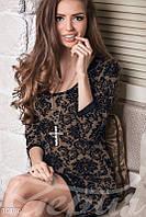 Коричневое 3D-платье Gepur 10176