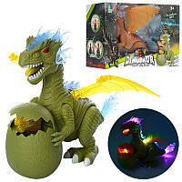 Игрушка динозавр с яйцом и динозавриком - ходит, звуковые и световые эффекты 6627A, Животные динозавр