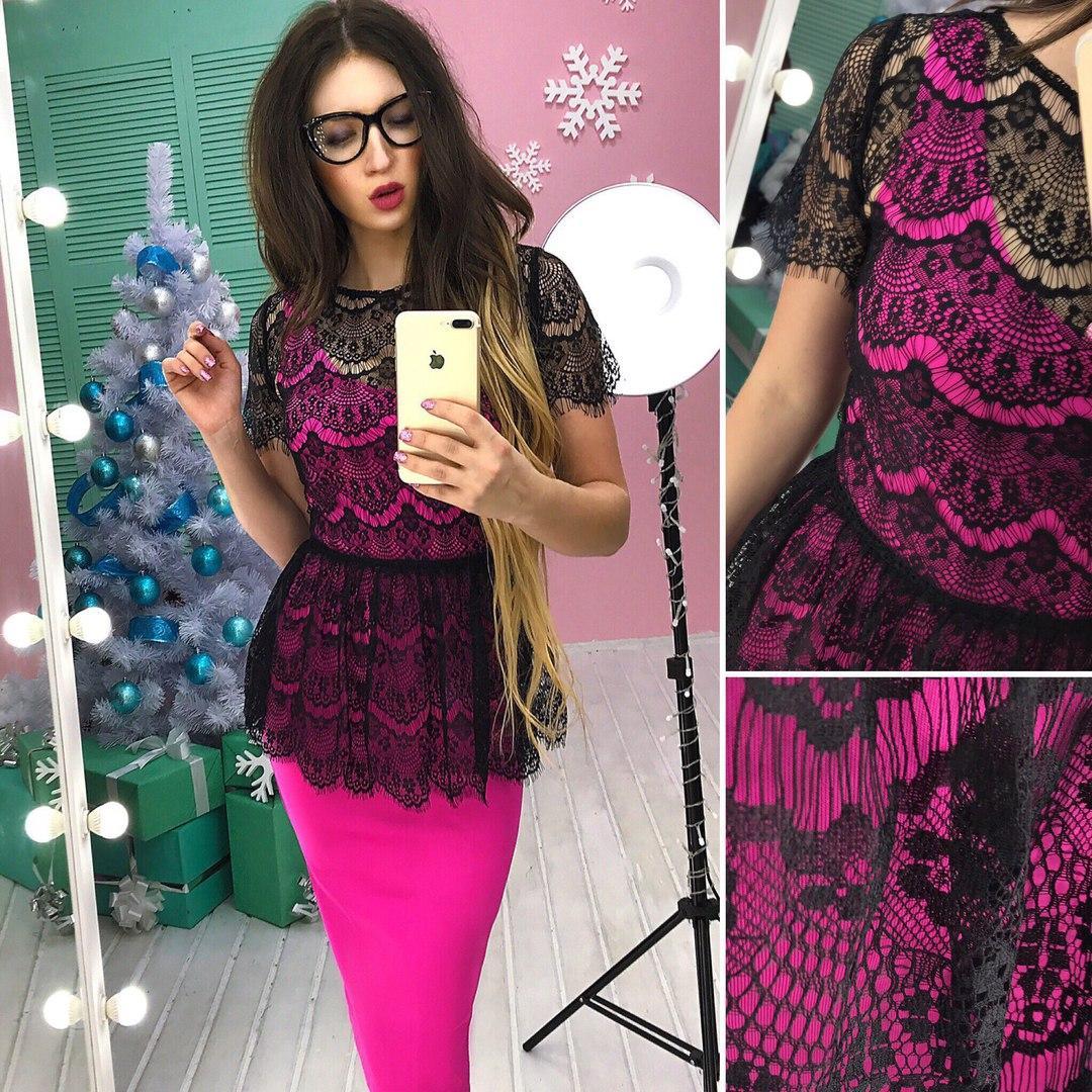 28be427c2a7 Женский костюм платье сверху кружевная баска в расцветках АМН-1712.115(1) -  Интернет