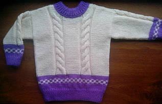 Детский вязаный свитер с косами, ручная работа