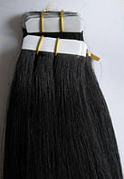 Натуральные волосы для ленточного наращивания 52 см. Оттенок №1.