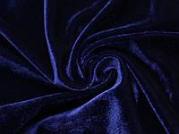 Велюр стрейч тонкий темно синій, фото 1