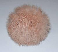 Меховой помпон Кролик персиковый 9 см.