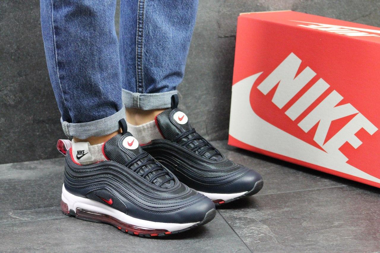 Кроссовки Nike 97 женские (темно-синие с красным), ТОП-реплика