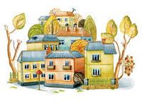 """Открытка """"Осенний городок"""", фото 1"""