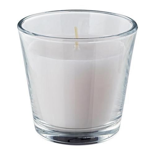 """ИКЕА """"OMTALAD"""" свеча ароматическая в стекле, белый"""