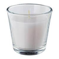 """ИКЕА """"OMTALAD"""" свеча ароматическая в стекле, белый, фото 1"""