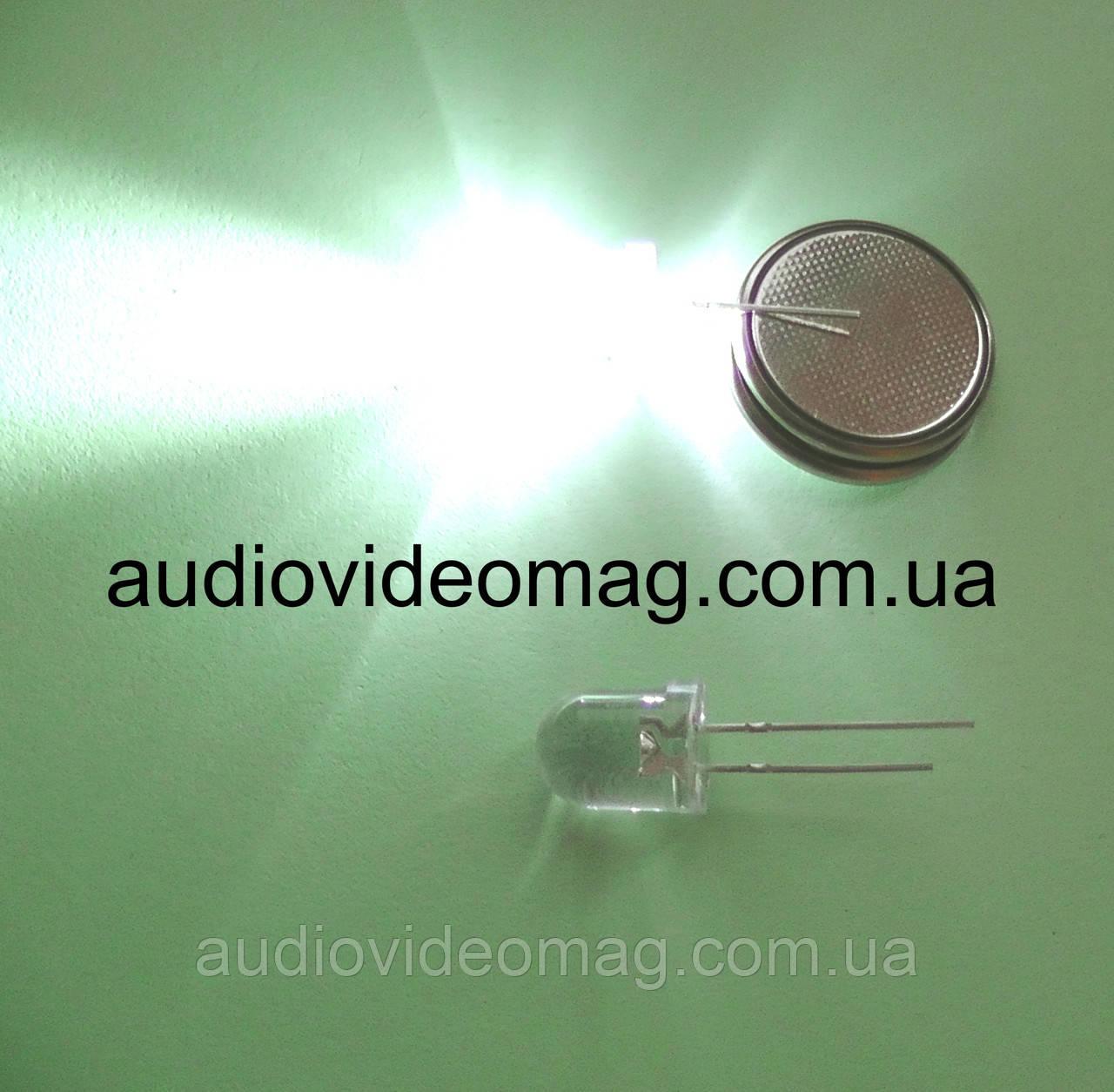 Светодиод 3V 8х11 мм, прозрачный, цвет белый