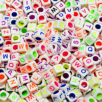 (20грамм) Пластиковые бусины - АЛФАВИТКА  6х6мм Цена за 20 грамм (прим. 110 шт)