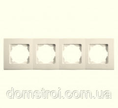 Четвірна горизонтальна рамка VIKO Linnera крем