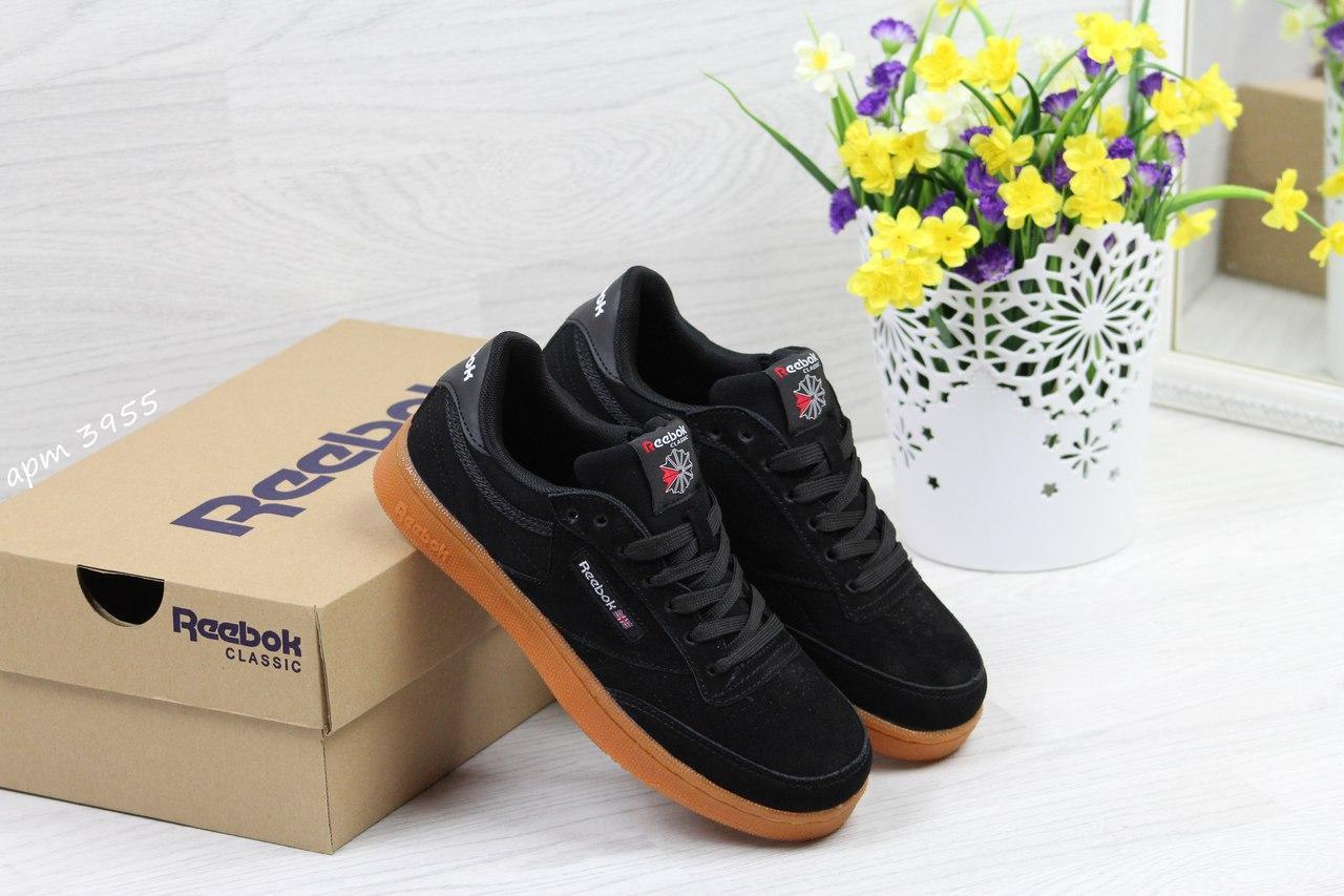 Женские кроссовки Reebok Workout Classica,замшевые,черные