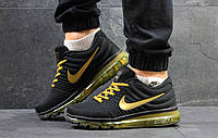 Кроссовки  Nike Air Max 2017 мужские (черные с желтым), ТОП-реплика, фото 1