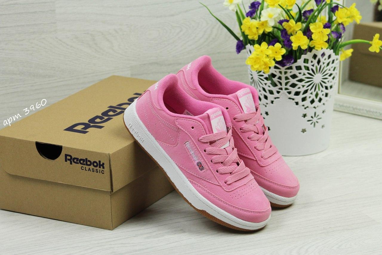 Кроссовки Reebok Workout Classica,замшевые,розовые