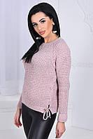 Короткий  женский свитер с шнуровкой по бокам