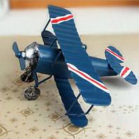 Миниатюрная декоративная модель самолета из железа синий