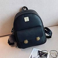 Рюкзак городской женский с двумя застежками и брелком (черный), фото 1