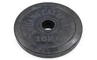 Блины (диски) обрезиненные d-52мм  10кг (металл, резина, черный), фото 1