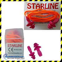 Беруши многоразовые Starline со шнуром ОПТом (SNR 31дБ). Min заказ 30 пар.