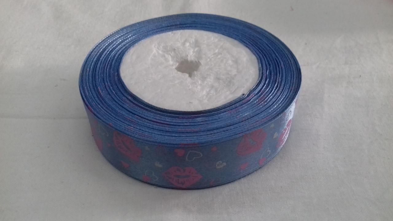 Атласная лента с рисунком  25 мм