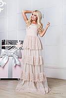 Платье в пол беж с кружевом